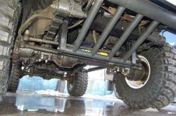 ГАЗ-69 TD27T-1 | Не сильно развернутый навстречу кардану мост, похоже, никак не сказался на управляемости «Газика». А демпфер ей только помогает. Защита тяг в некоторых условиях также элемент, призванный положительно влиять на ходовые качества автомобиля