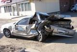 Toyota протаранила три стоящих на светофоре автомобиля