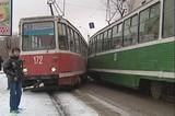 Столкновение двух трамваев произошло сегодня днем в центре Иркутска