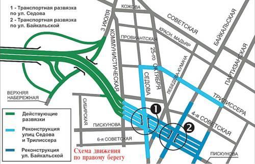 Правобережные развязки Академического моста в Иркутске